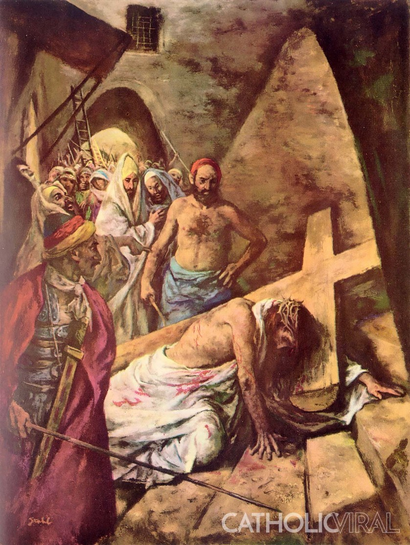 Jesus Falls the First Time - - 54 Paintings of the Passion, Death and Resurrection of Jesus Christ