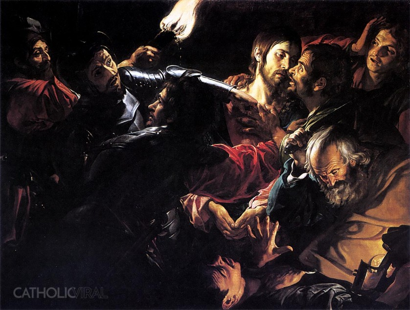 The Betrayal by Judas - Valentin de Boulogne - 54 Paintings of the Passion, Death and Resurrection of Jesus Christ