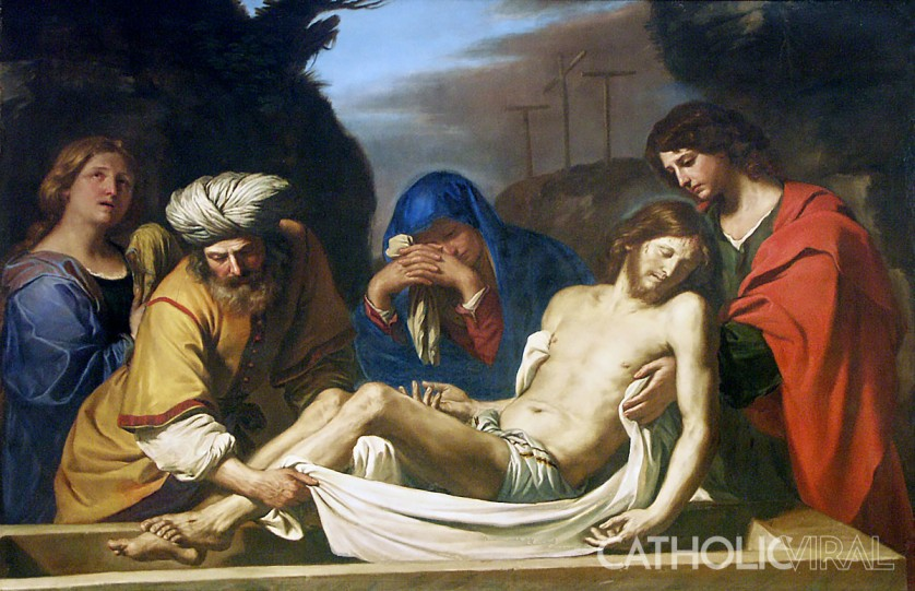 The Burial in the Tomb - Guercino - 54 Paintings of the Passion, Death and Resurrection of Jesus Christ