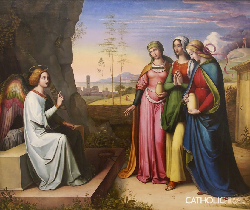 Three Marys at the Tomb - von Cornelius - 54 Paintings of the Passion, Death and Resurrection of Jesus Christ